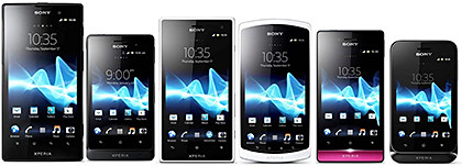 The Xperia ion and Xperia neo L are part of a slew of six that debuted in SE Asia today. From left: Sony Xperia ion, go, acro S, neo L, miro, and tipo.