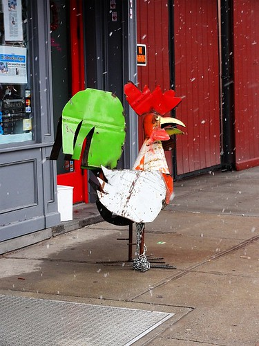 Brooklyn Metal Chicken on a snowy day