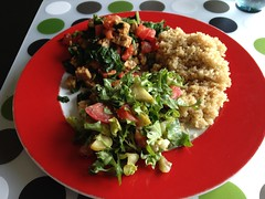 Swiss chard with tempeh, tomato and quinoa