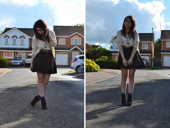 daisybutter - UK Style and Fashion Blog: what i wore, wiwt, ootd, jumper and skirt, asos aggie boots, zara, topshop, ankle socks, ever ours