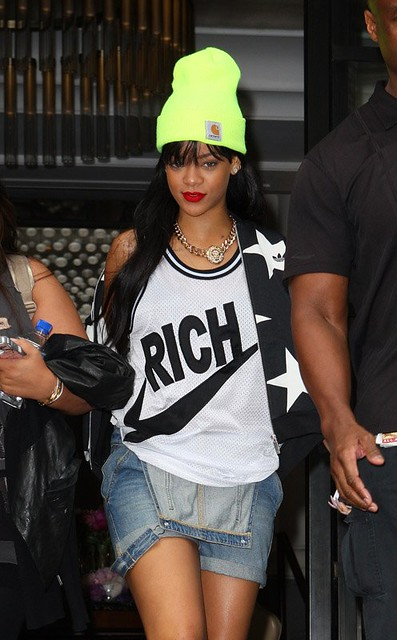rihanna-Carhartt-Acrylic-Watch-beanie-hat-neon-yellow-Joyrich-Rich-Jersey-Tank-Top-Air-Jordan-Retro-12-Sneakers-2