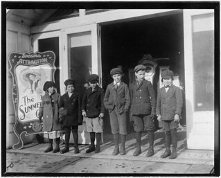 Line of children found in a penny arcade at 1:30 P.M. As many of the schools in Schenectady run on half-time they are not necessarily truants, February 1910