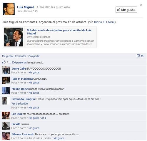 Luis Miguel compartiendo la nota de El Litoral mediante Facebook