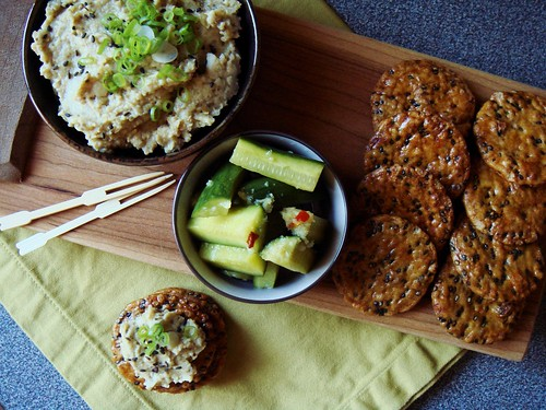 Miso Tahini Eggplant Dip & Crunchy Ginger-Pickled Cucumbers