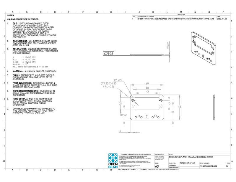 TL400-000104-004-B - Mounting Plate, Standard Hobby Servo
