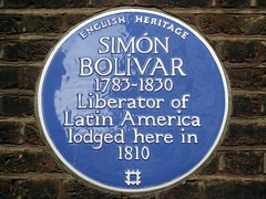 Photo of Simón Bolívar blue plaque