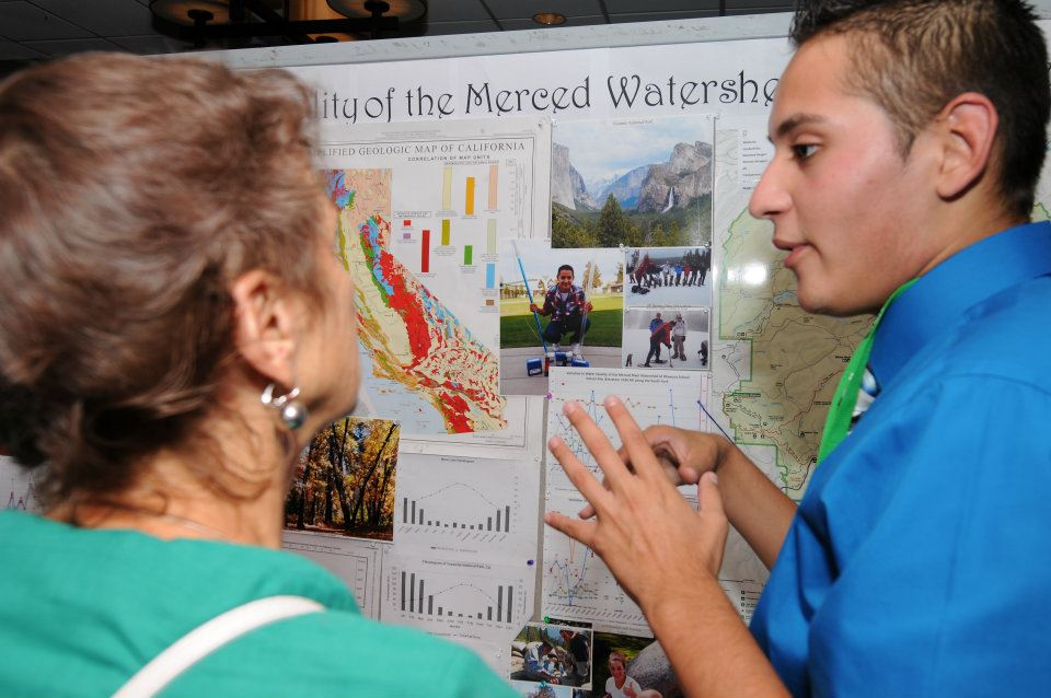 A student presents his research