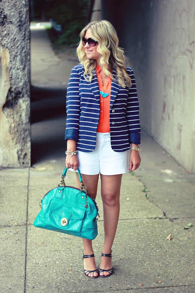 Navy Striped Blazer and Orange Blouse shorts outfit