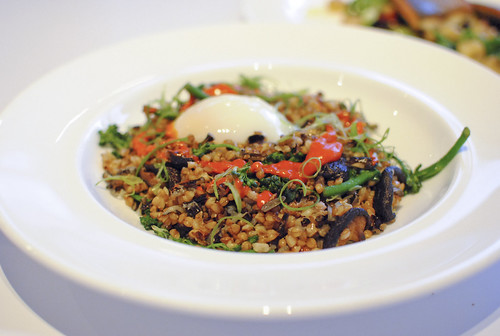 farro broccoli di cicco, shiitake mushrooms, green onions, chili sauce, slow cooked egg