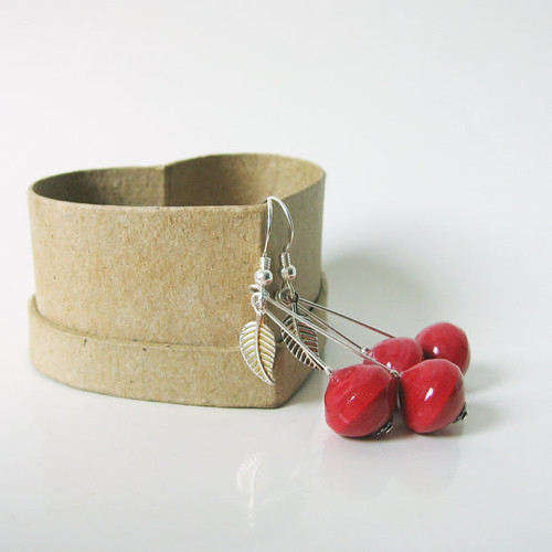 Paper Cherry Earrings