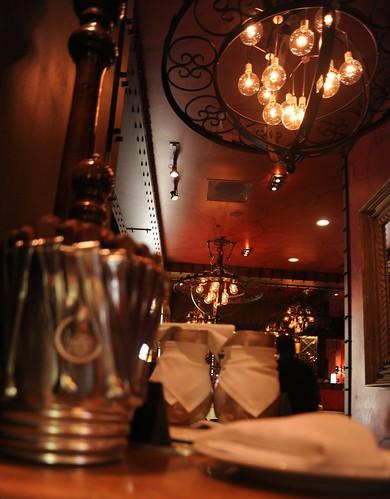 Interior decor, wheel style lighting, Texas De Brazil, restaurant, Schaumburg, Illinois, USA by Wonderlane