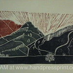 Arthur's Seat, Edinburgh - sun rise, lino print