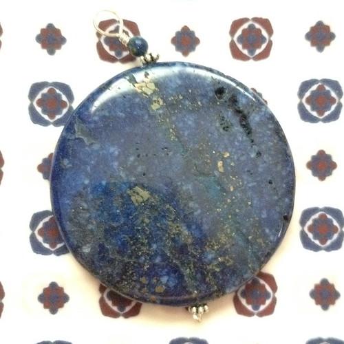 blue gold stone pendant