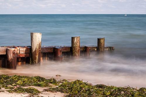 ocean longexposure seaweed beach water waves unitedstates massachusetts nantucket algae protista barricade protists protist 365photoproject hinckleybeach
