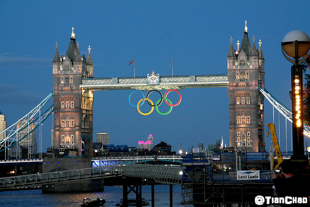 London Tower Bridge Olympic Rings Night Scene