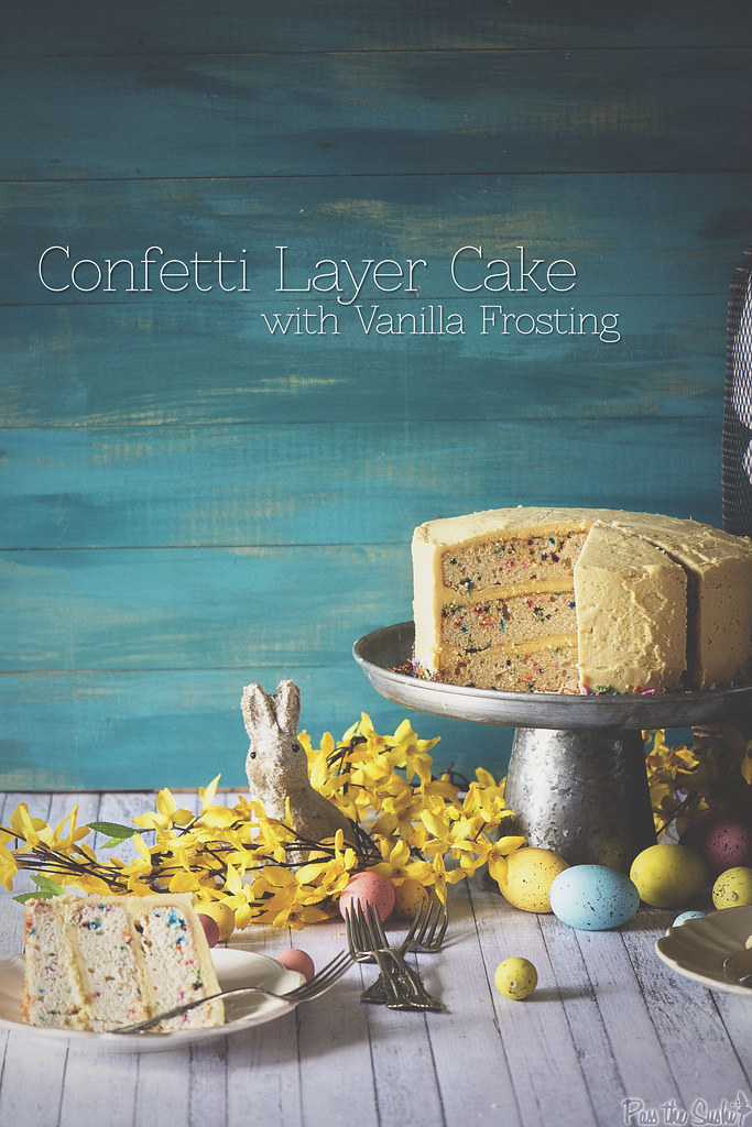 Confetti Layer Cake with Vanilla Frosting \\ PasstheSushi.com