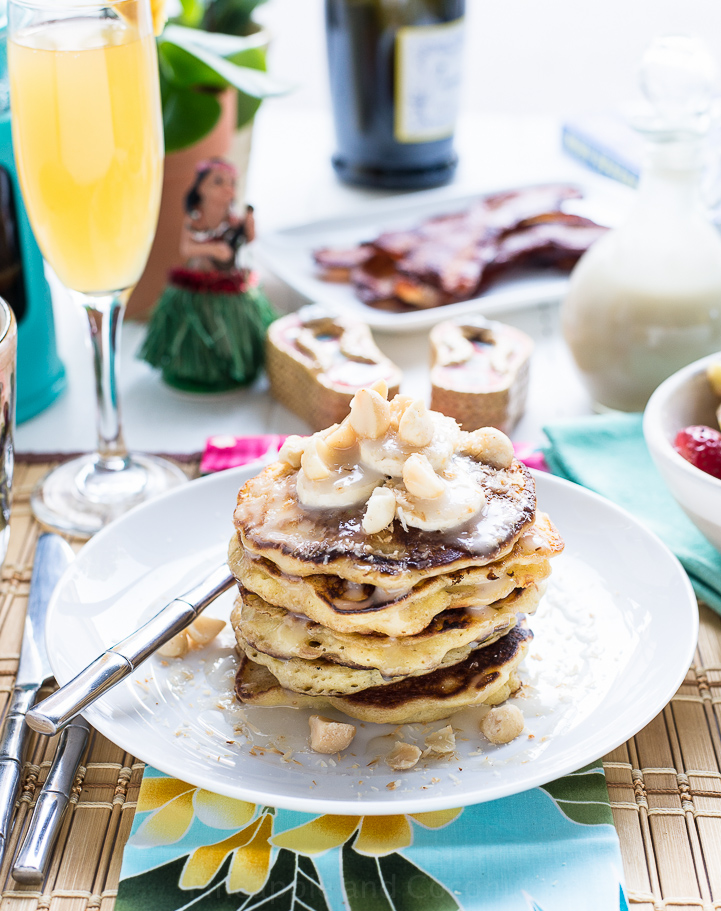 Coconut Banana Macadamia Nut Pancakes with Coconut Syrup for Mother's Day Brunch www.pineappleandcoconut.com #MominParadise