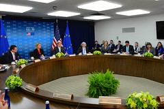 U.S. Secretary of State John Kerry addresses the seventh U.S.-EU Energy Council meeting on May 4, 2016, at the U.S. Department of State in Washington, D.C. Participants from the European Union include Federica Mogherini, Vice President and High Representative of the European Union for Foreign Affairs and Security Policy; Maros Sefcovic, Vice President of the European Union for Energy Union; Miguel Arias Cañete, Commissioner of the European Union for Climate Action and Energy; and Sharon Dijksma, Minister for the Environment of the Netherlands. [State Department photo/ Public Domain]
