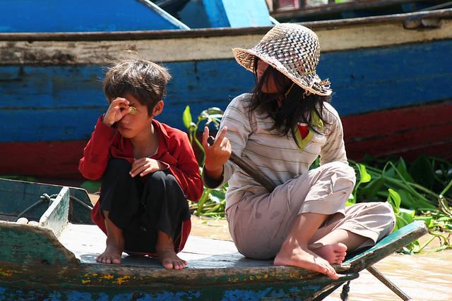 Floating village at Tonle Sap lake, Cambodia.