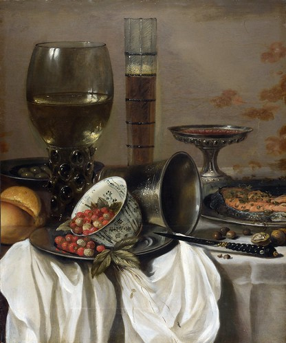 Pieter Claesz - Still Life with Drinking Vessels [1649] by Gandalf's Gallery
