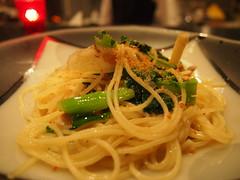 karasumi and udo's oil sauce pasta