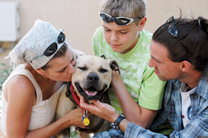 Family with their pit bull terrier dog