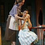 Carmen Roman as Marta and Zabryna Guevara as Pilar  in the Huntington Theatre Company's world premiere production of Sonia Flew by Melinda Lopez, at the Calderwood Pavilion at the BCA. Part of the 2004-2005 season. Photo: T. Charles Erickson