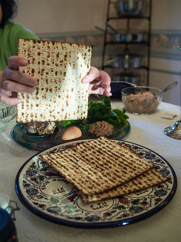 Matza (staple Passover food) and Seder by Edsel Little.