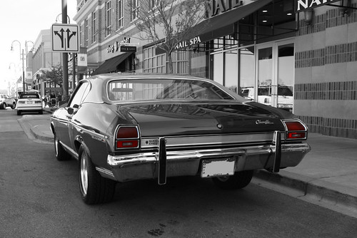 auto street plaza city roof ohio urban bw favorite color classic chevrolet hardtop 1969 car vintage mall shopping fun spring model automobile gm view suburban outdoor parking year rear vinyl chevelle malibu sidewalk chevy bumper american april venetian beavercreek parked interstate guards kerb curb coupe dayton 2012 selective colorization abody generalmotors intermediate midsize 2door i675 threequarter nailspa slowride thegreene worldcars