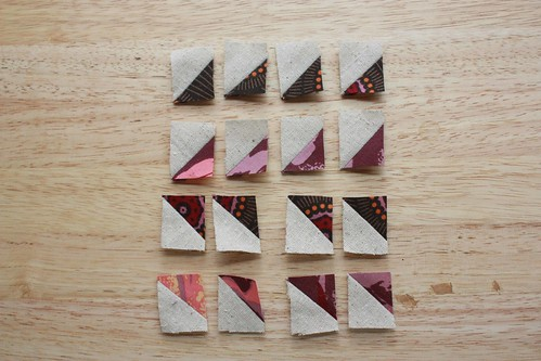 Step 1: Make two sets of 8 Half Square Triangle (HST) Squares