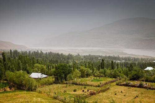 trees nature field fence river hill places crops tajikistan hay tajik agriculture rasht tjk gharm