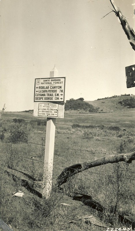 Signage approaching Potrero Seco Guard Station, 1927