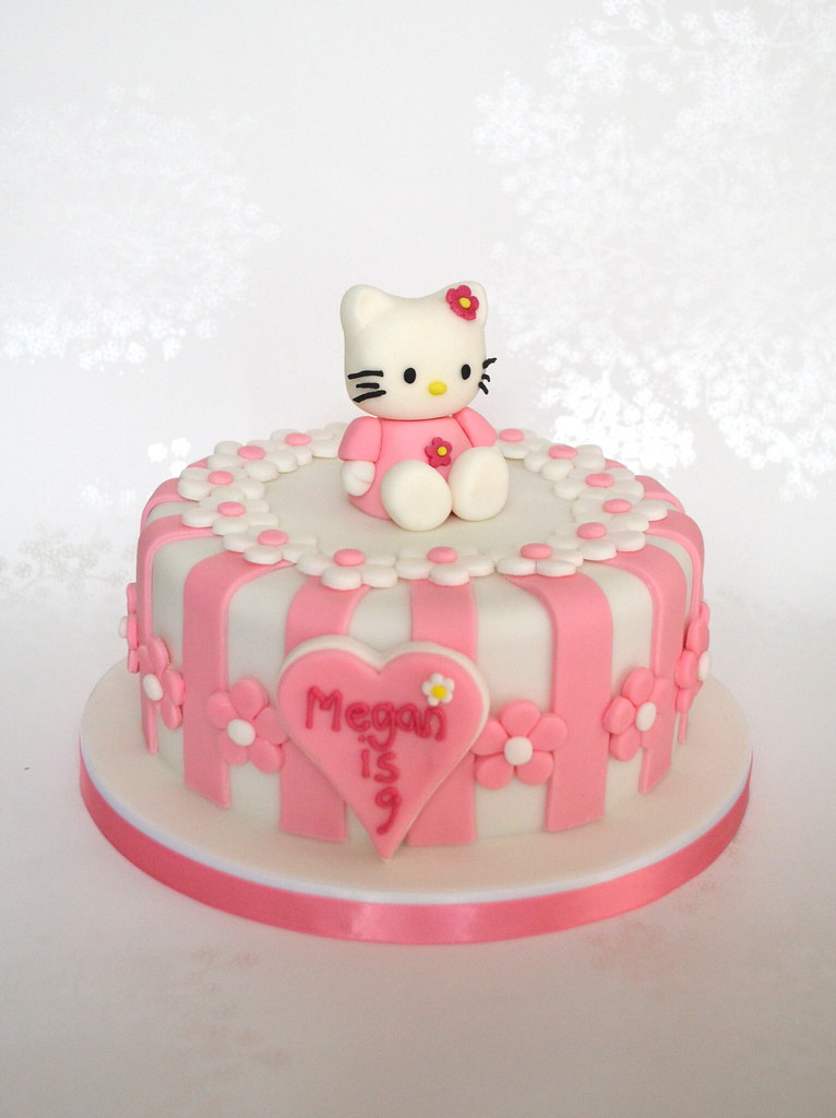 Pink Stripey Hello Kitty Birthday Cake Hello Kitty Cake Fo Flickr