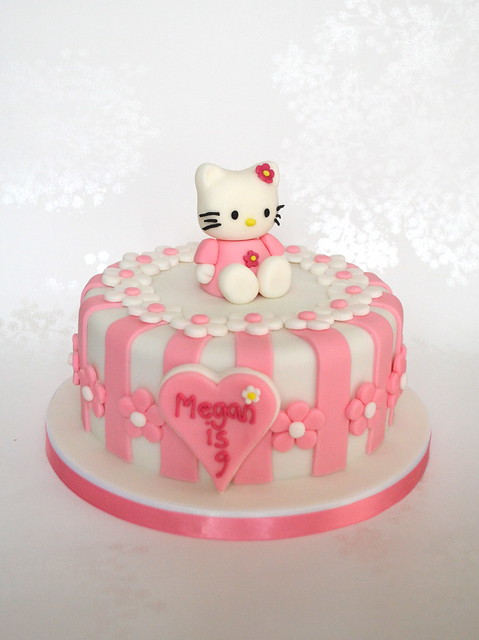 Pink Stripey Hello Kitty Birthday Cake  Flickr - Photo Sharing!