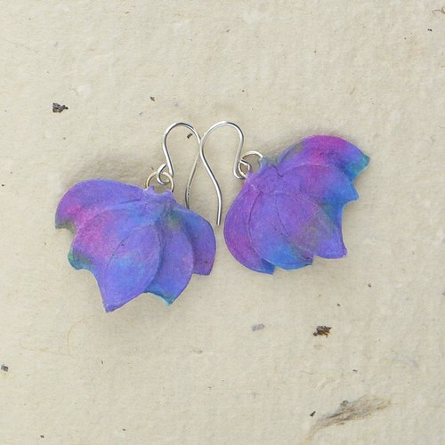 Paper Earrings - Ribbed Aurora Swirl