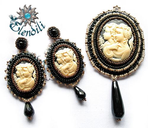Conjunto camafeos negro-marfil by **Elendili**