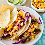 Grilled Fish Tacos with Cantaloupe-Pineapple Salsa
