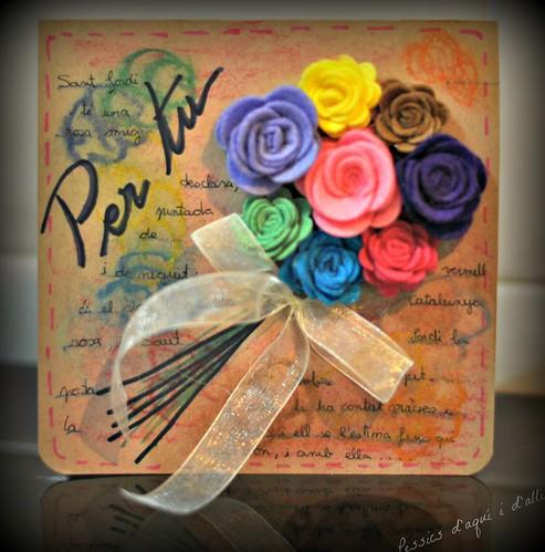 postal amb una rosa