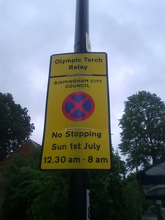 Olympic Torch Relay - Stratford Road, Hall Green - sign - Birmingham City Council