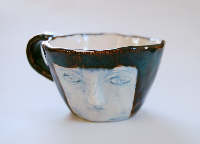 girl face teacup