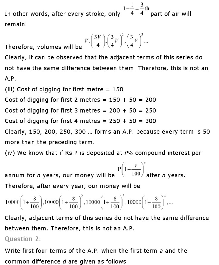 Ch 5 Arithmetic Progression: Maths Class 10 NCERT Solutions