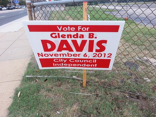 Political campaign signs on display around Carlyle