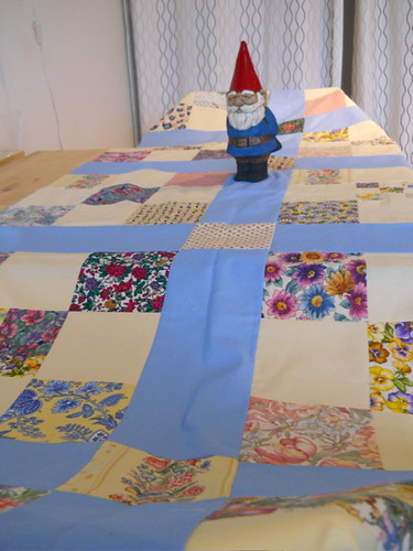 quilt top and gnome