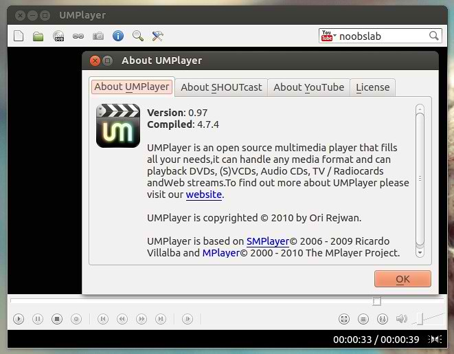 Install UMPlayer in Ubuntu/Linux Mint (with YouTube Search