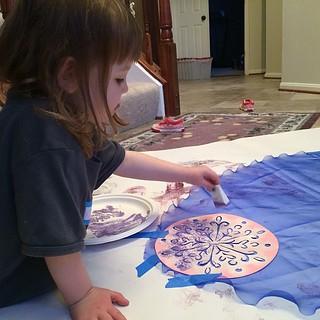 Stenciling our Elsa cape.