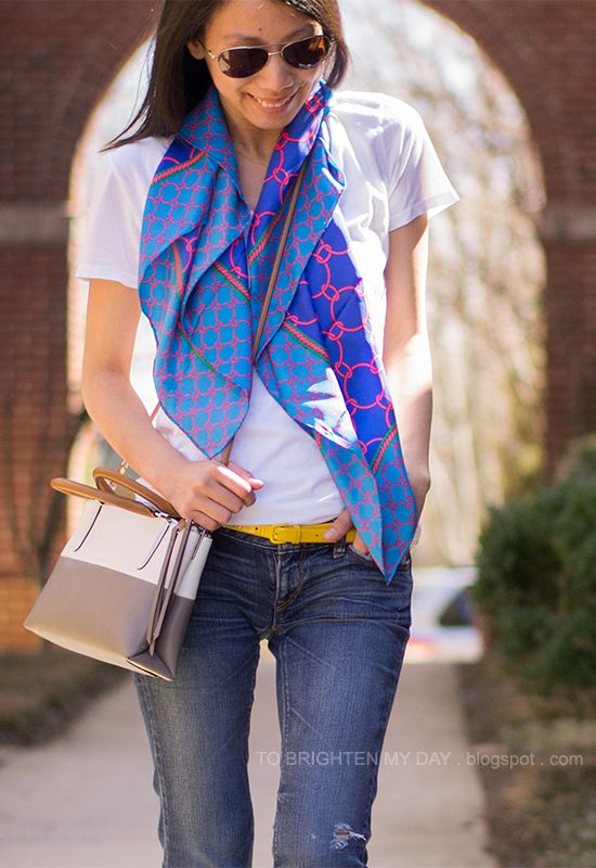 printed scarf, white tee, colorblock crossbody bag