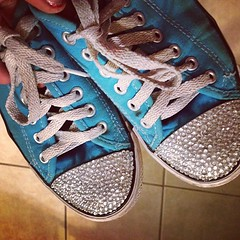 My daughter did this to her sneakers. #bling #creative