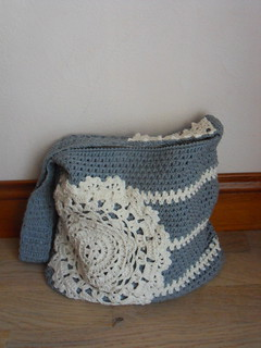 Crochet Tote bag with a doily