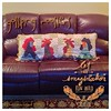 "16/4/2014 - create {I created this fun pillow}. It's called ""Gossiping Roosters"" and lives on the guest room bed!  #photoaday #create #pillow #roosters #quilted #fun #rhonnadesigns #titlefx"
