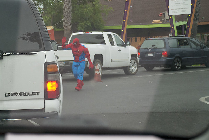 Spider-Man greeting all the cars